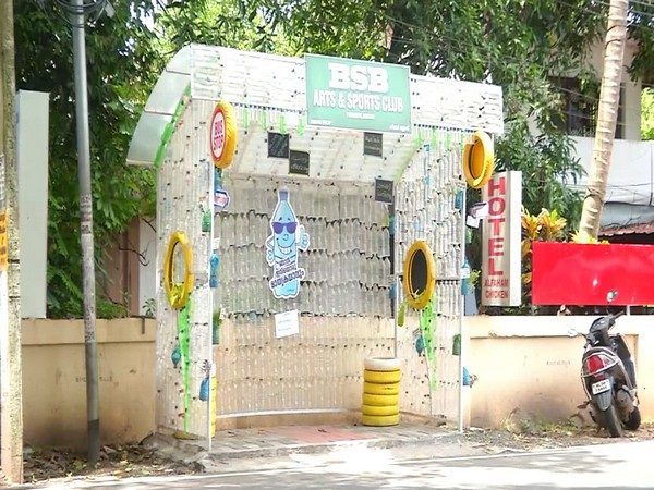 Kerala youngsters build waiting shed with used plastic bottles, sheets and tyres