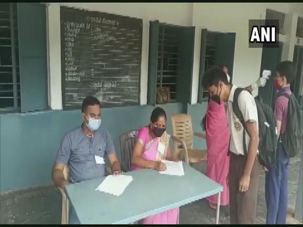 Class 10 students screened in Karnataka's Hubli before SSLC exam