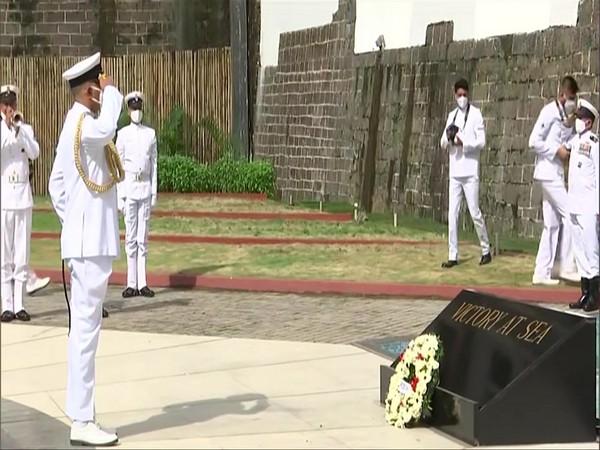 Vice Admiral R Hari Kumar lays wreath at Gaurav Stambh monument in Naval Dockyard in Mumbai