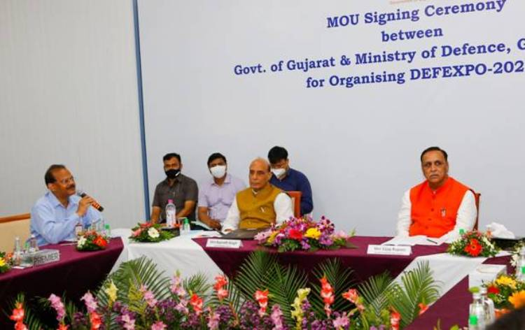 Rajnath Singh and Gujarat CM review preparations of DefExpo-2022 at Kevadia