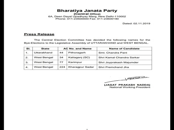 BJP names candidates for by-polls in U'khand, West Bengal assembly constituencies