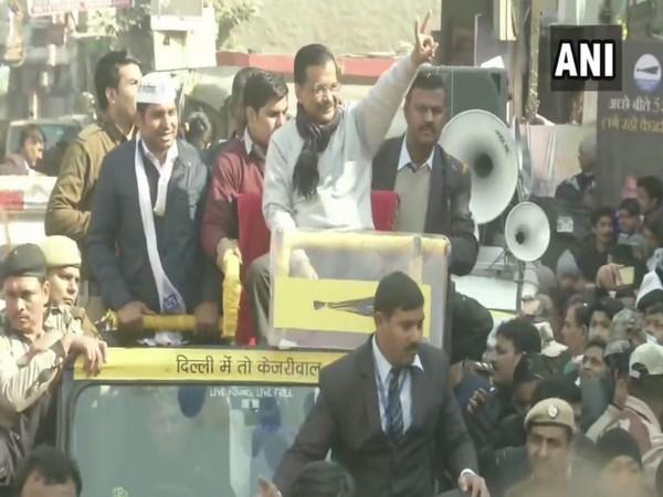 Chief Minister Arvind Kejriwal holds roadshow in Delhi's Dwarka