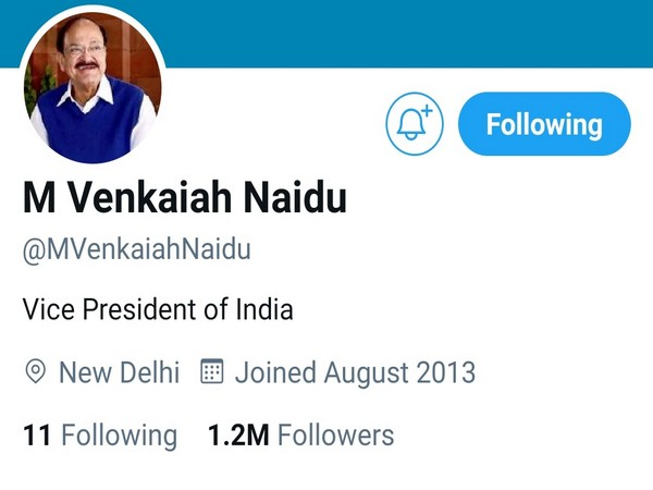 Twitter removes blue badge from Vice President Venkaiah Naidu's personal verified account