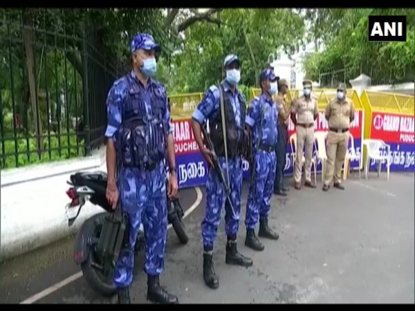 Puducherry: Security forces deployed outside Raj Nivas ahead of Congress-led dharna against Kiran Bedi