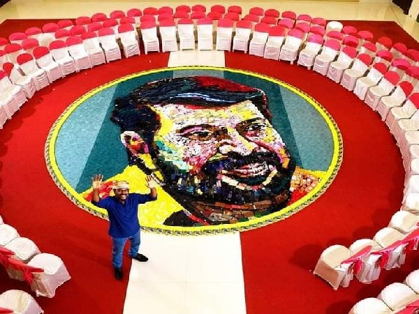 Man creates giant portrait using 600 mobile phones for actor Mammootty on 70th birthday