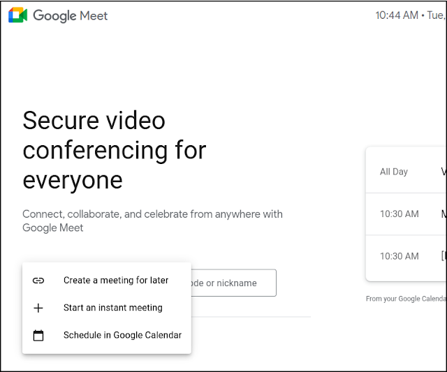 New options added to join meeting from Google Meet landing page