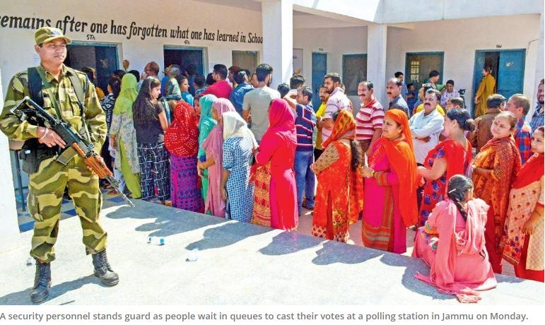 Jammu witnesses healthy turnout of 79.8 pct voters; while Kashmir Valley voted only 3.4 pct