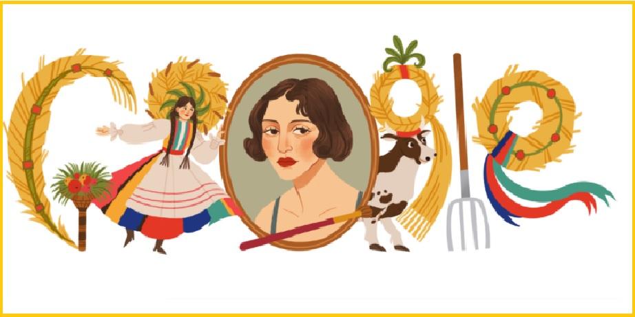 Google doodle to honor Polish painter & designer Zofia Stryjeńska on her 130th birthday
