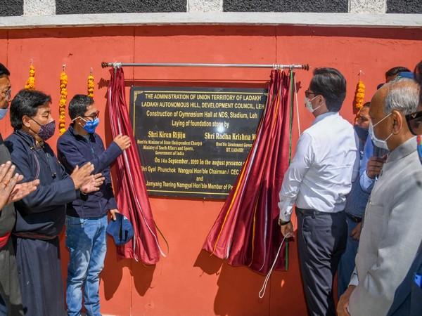 Kiren Rijiju lays foundation stones for sports facilities in Leh