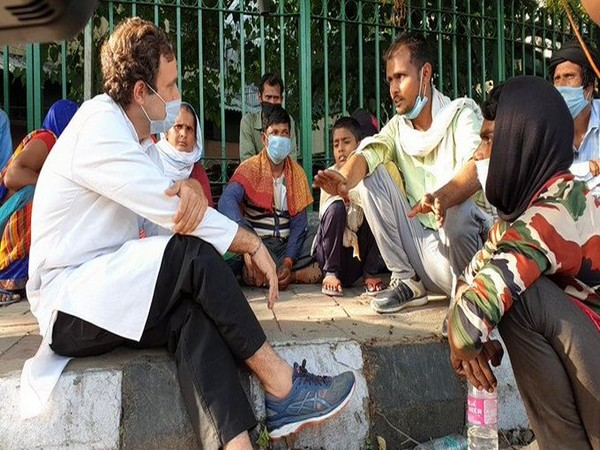 Rahul Gandhi meets migrant workers in Delhi's Sukhdev Vihar