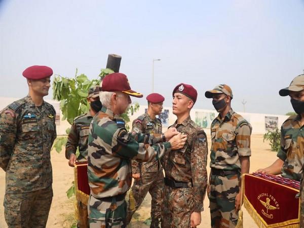Maroon Beret Ceremonial Parade held at Chandinagar's Garud Regimental Training Centre