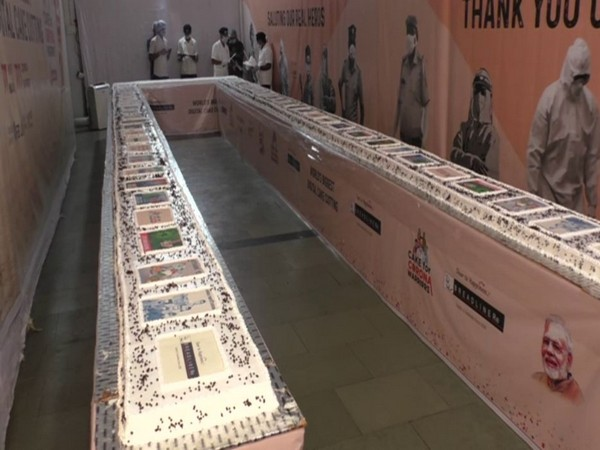 On PM Modi's birthday, Surat bakery makes 71-feet-long cake with 'corona warriors' theme