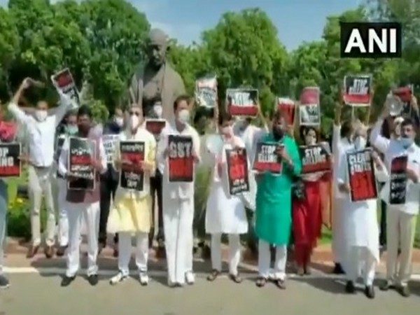 Opposition MPs protest at Parliament premises demanding GST payments to states