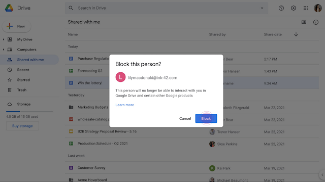 Google Drive users can no longer block someone in trusted domains
