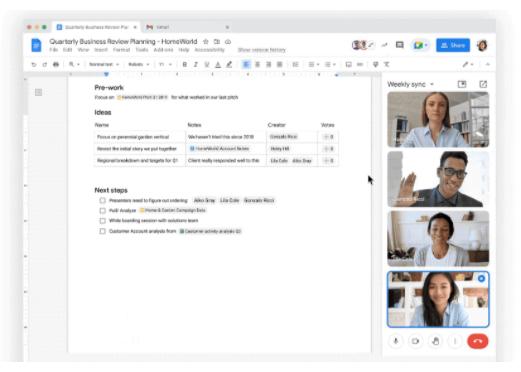 Google bringing Meet directly to Docs, Sheets, and Slides this fall