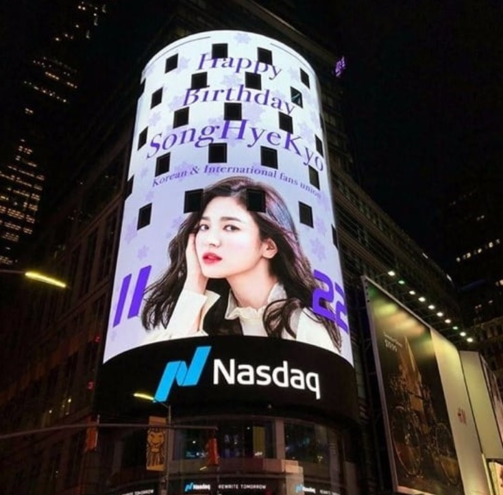 Song Joong-Ki's ex-love Song Hye-Kyo creates record for getting a birthday ad in Times Square