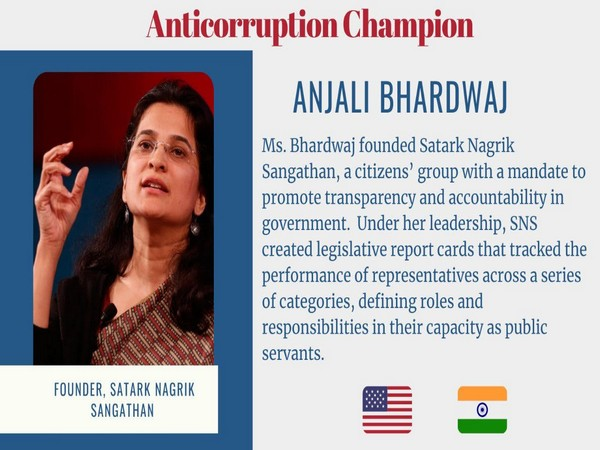 US honours Indian activist Anjali Bharadwaj for her work on combating corruption