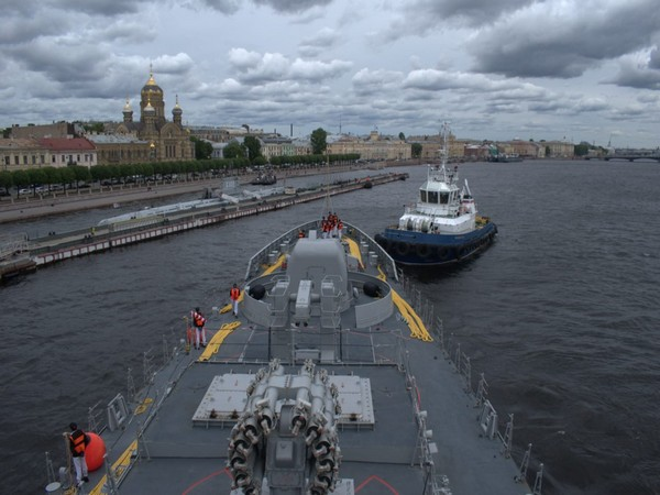 INS Tabar arrives at St Petersburg to participate in Russia's Navy Day celebration