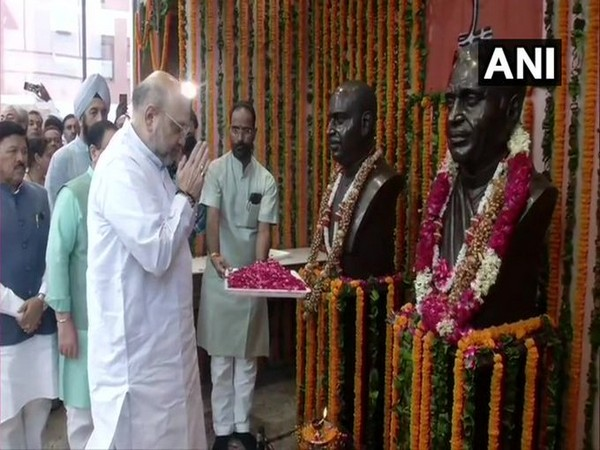Delhi: Amit Shah pays tribute to Pt Deen Dayal on his birth anniversary