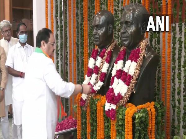 JP Nadda pays floral tribute to Deendayal Upadhyaya on 105th birth anniversary