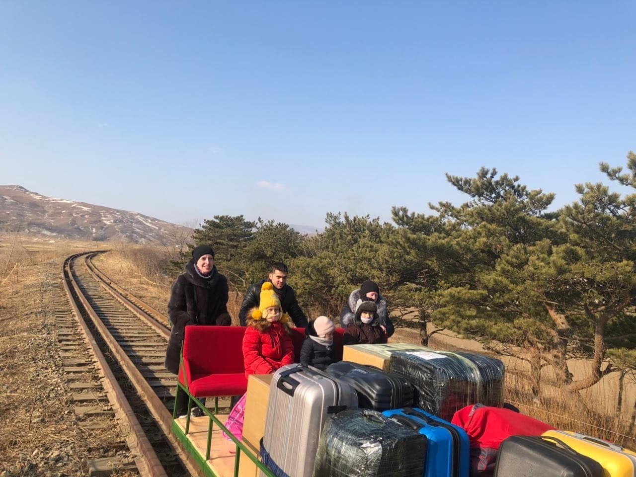Russian diplomats return from North Korea on rail trolley