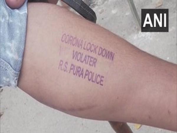 J-K Police stamping violators of lockdown in RS Pura