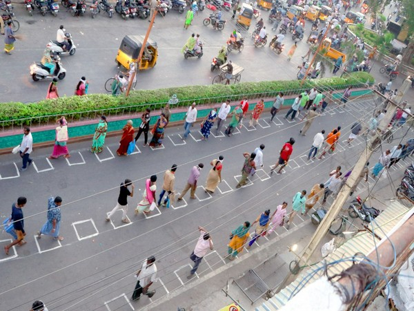 Markings drawn in Andhra's markets to maintain social distancing