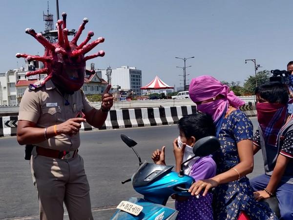 Corona helmet, Chennai cops' unique way to dissuade lockdown defiers