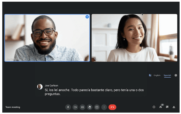 You can now try live translated captions in Google Meet