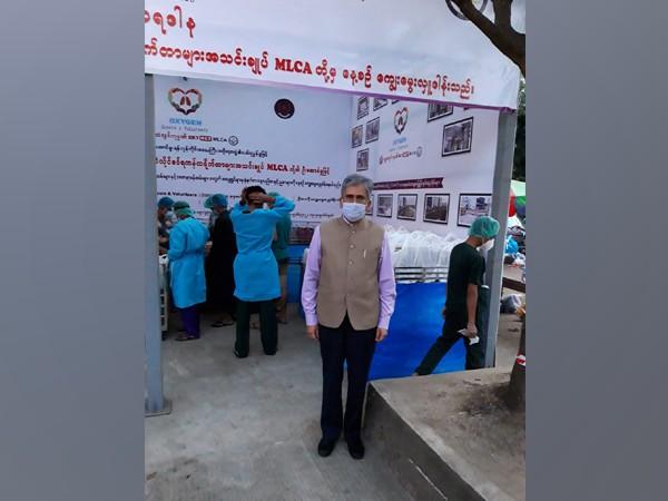 Indian Ambassador Saurabh Kumar donates food to Yangon General Hospital Covid-19 treatment centre