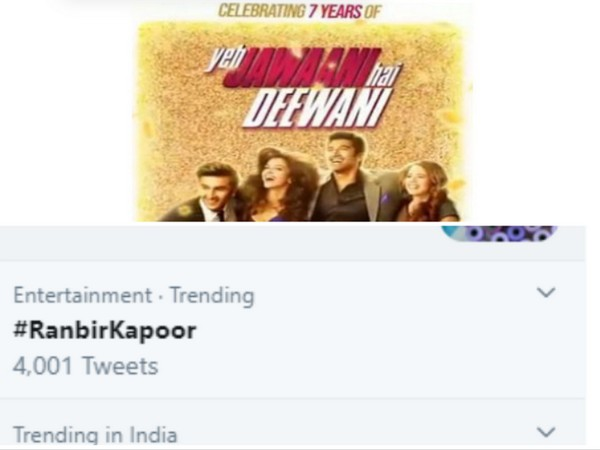 #RanbirKapoor trends on Twitter as 'Yeh Jawaani Hai Deewani' clocks 7 years