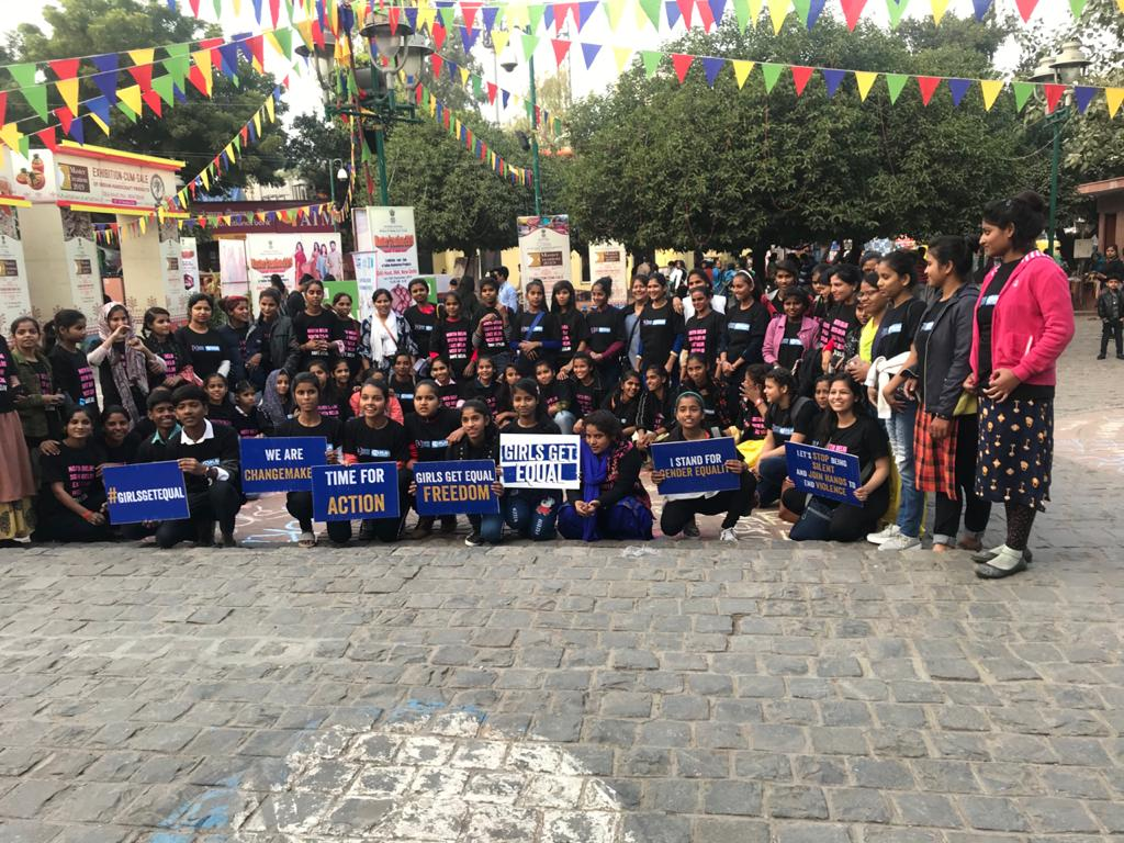 Girls chalk up a victory in the fight against street harassment at Dilli Haat